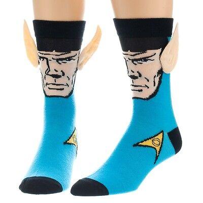 Star Trek Doctor Spock Crew Socks With Ears   Size 6 12 Official Mens Gift Blue