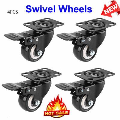 23 Caster Wheels Swivel Plate Total Lock Brake Heavy Trailer Accessory 4 Pack