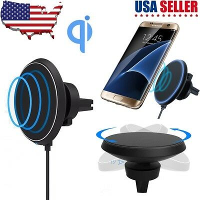 Qi Wireless Car Charger Charging Magnetic Mount Holder For Samsung S8 S9 Plus Us