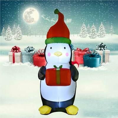 Pinguino Natalizio Gonfiabile Grande 180cm Con Illuminazione Led Per Esterno