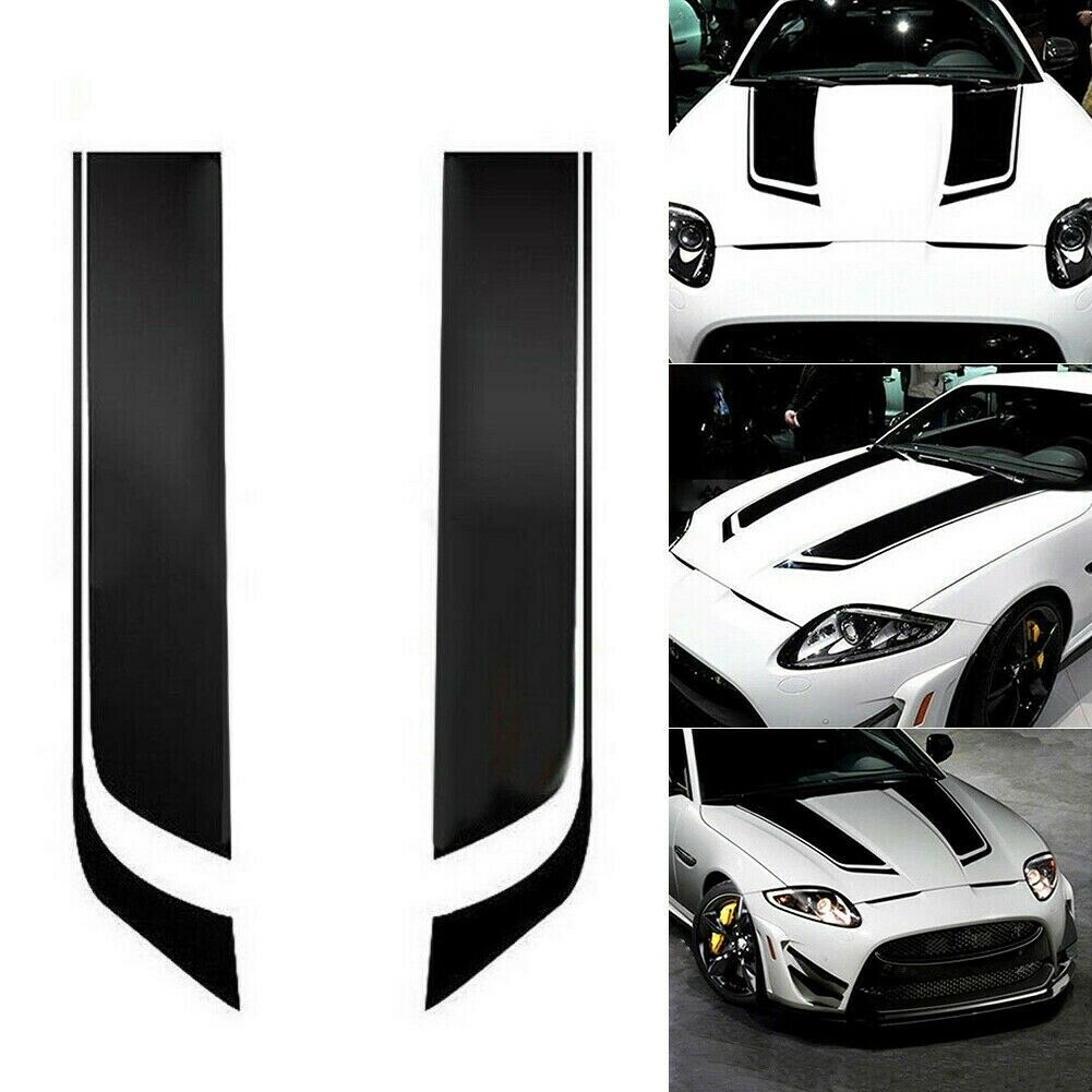 2x Universal Racing Car Hood Stripe Decal Auto Vinyl Bonnet Sticker Accessories