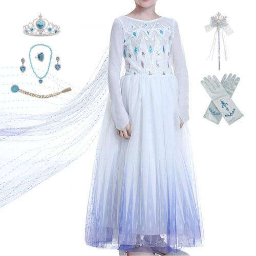 Eiskönigin Elsa Kleid Kostüm Frozen 2 Prinzessin Kinder Mädchen Cosplay Kleider