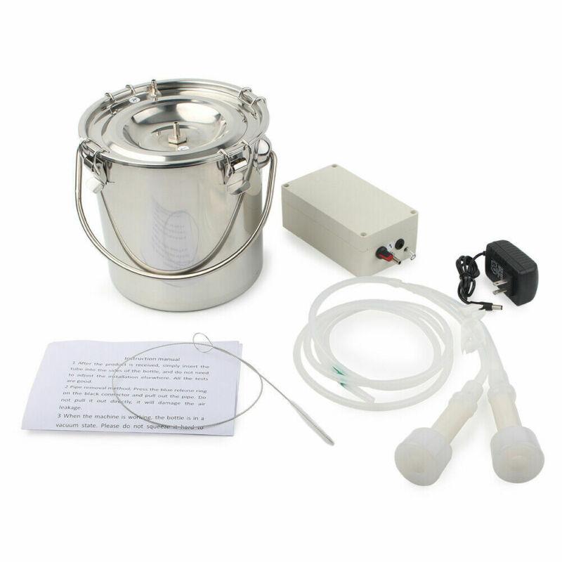 5L Portable Vacuum Pump Electric Milking Machine Farm Cow Double Head Adjustable