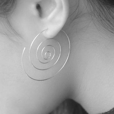 """925 Sterling Silver Big Round Spiral Tribal Hoop Drop Ear Stud 1.25"""" Earrings"""