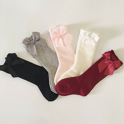 Toddler Kid Baby Girl Knee High Long Socks Bow Cotton Casual
