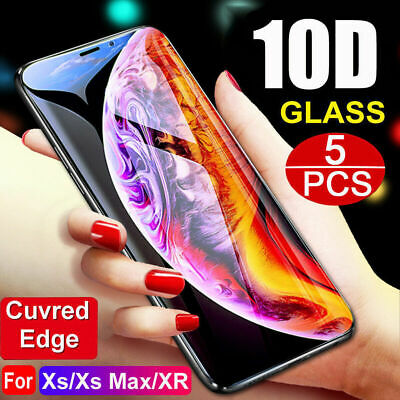 1-5PCS For iPhone XR Xs Max X 8 10D Full Cover Tempered Glass Screen Protector