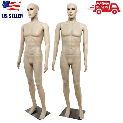 Full Body Male Mannequin Pe Realistic Shop Display Head Turns Dress Form W Base