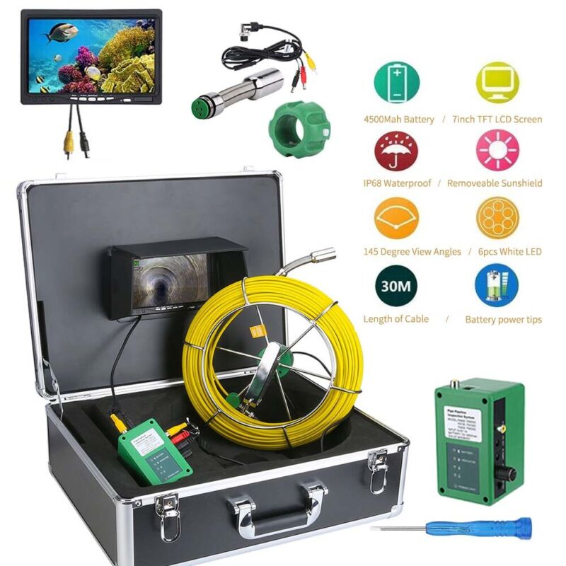 """USED 7""""LCD 30M Sewer Waterproof Camera Pipe Pipeline Drain Inspection System"""