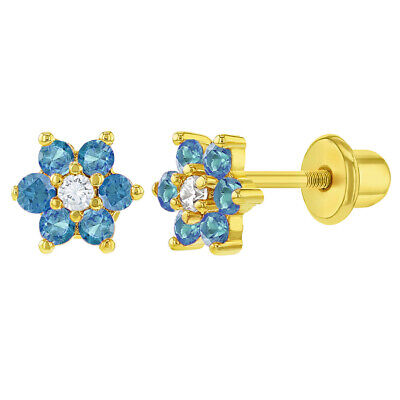 18k Chapado en Oro Azul Claro Flor de Cristal Pendientes Tuerca para...