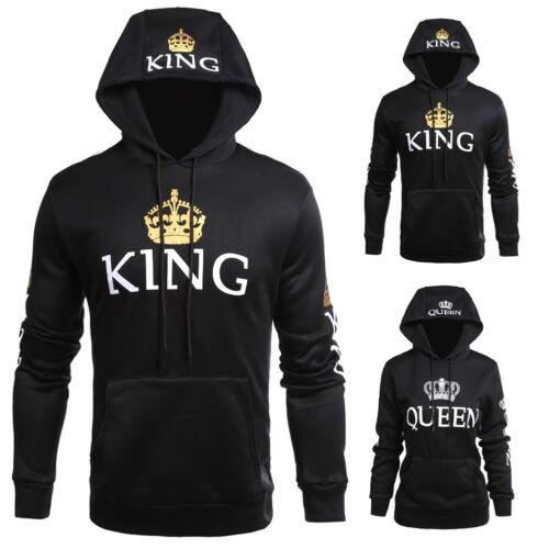 Unisex Adults Hoodies Jumper Sweater Tops King/Queen Crown C