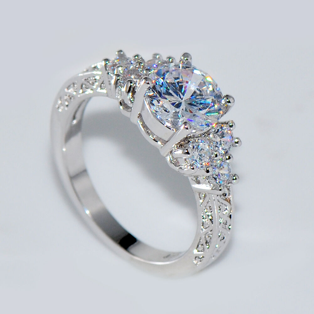5 80 Ct Lab Diamond White Sapphire Wedding Ring 10kt White
