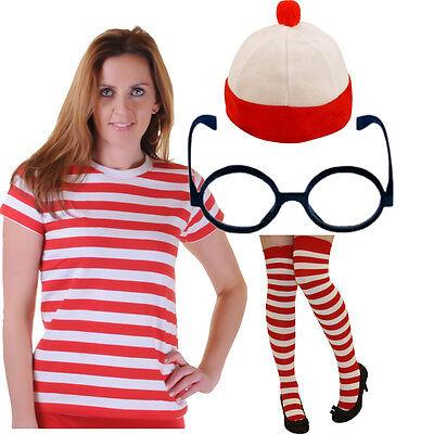 ROT UND WEIß DAMEN, GESTREIFT T-SHIRT WO IST STREIFEN TOP SOCKEN BUCH WOCHE - Rot Und Weiß Gestreiften Kleid Kostüm