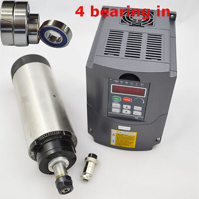 New 1.5kw Er16 Air-cooled Spindle Motor 80mm Four Bearing 1.5kw Inverter Vfd