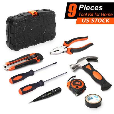 9Pcs Hand Tools Kit General Household Tool set Hardware Tools Storage Case Set