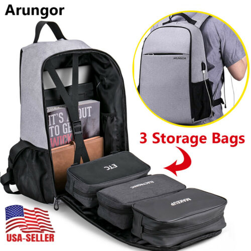 Laptop Backpack With USB Charging Port Travel Shoulder Noteb