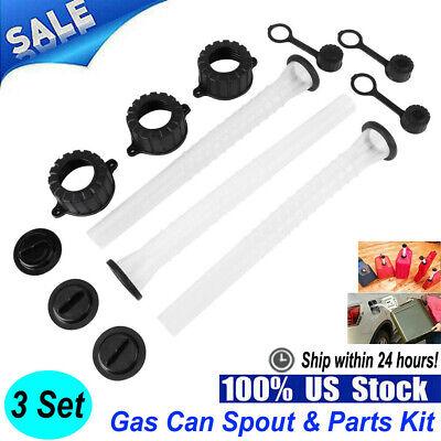 3 Set Fuel Gas Can Spout Cap Parts Kit Replacement For Refuel Rubbermaid Blitz