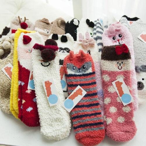 Tier Kuschelsocken Wintersocken Knöchellang Socken Winter Warm Damen Weihnachten