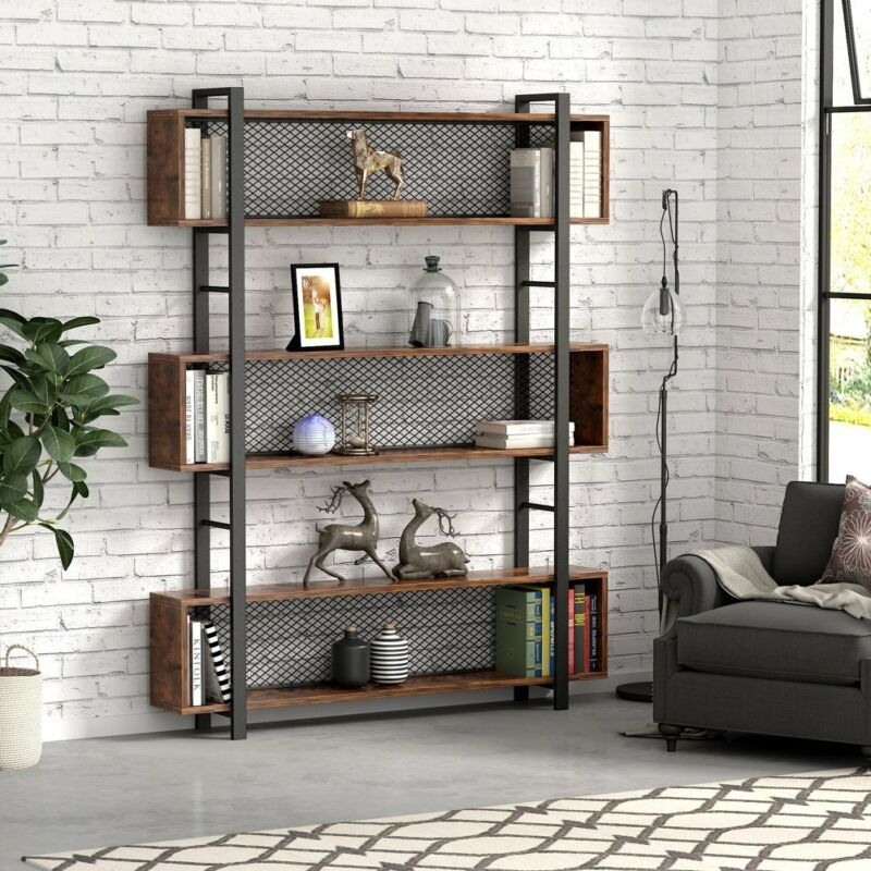 Tribesigns 5-Tier Bookshelf with Metal Wire Vintage Industrial Bookcase Display
