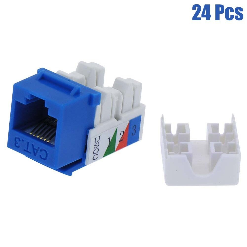 24 Pcs CAT3 RJ11 RJ12 Keystone Jack Telephone Phone Line 110 Punch Down Blue