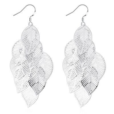 lia sophia jewelry silver tone pattern circle leaf pendant earrings hoop drop