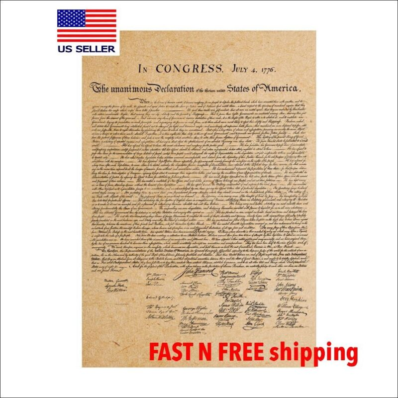 """Declaration of independence/ America Poster/replic/20"""" X 14""""/ US history"""