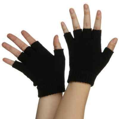 New Black Acrylic spandex Finger less Gloves Punk GOTH WARMER  USA SELLER