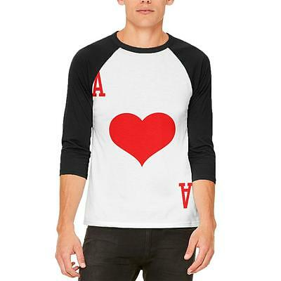 Halloween Ace of Hearts Card Soldier Costume Mens Raglan T Shirt - Ace Of Hearts Costume
