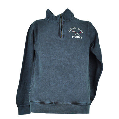 Cape May Point New Jersey Acid Navy Blue Sweater Pullover Mens Mid Zipper