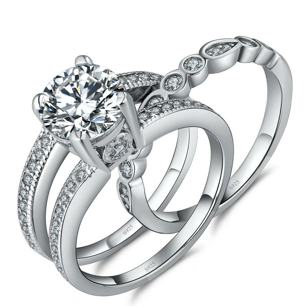 Women's 925 Sterling Silver Round 2.18 CTW CZ Bridal Engagement Wedding Ring Set