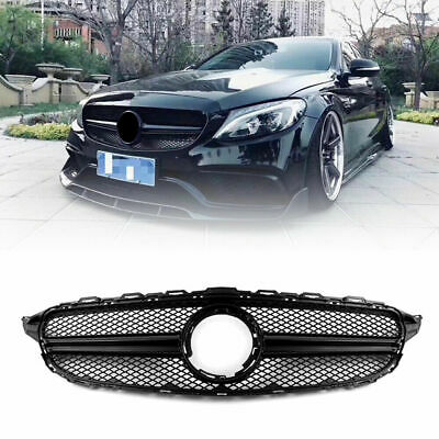 15-18 Mercedes Benz C Class W205 AMG Style Front Grille C200 C250 Gloss Black
