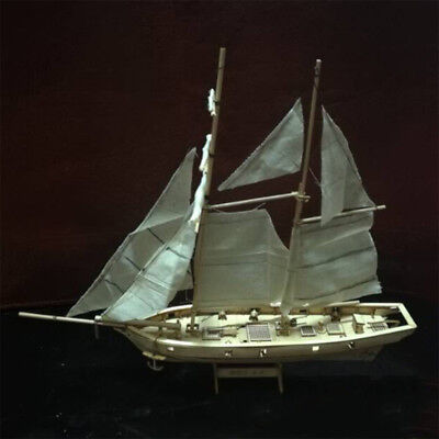 (US 1:100 Scale Wooden Wood Sailboat Ship Kit Home Model Decoration Boat Gift Toy)