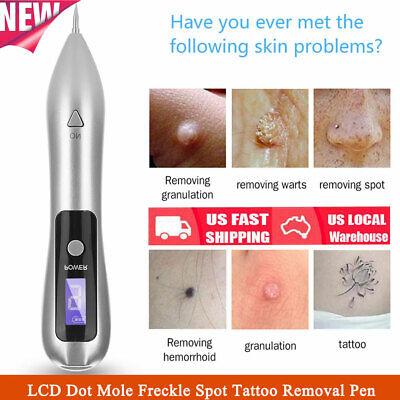 9 Gears LCD Dot Mole Freckle Spot Tattoo Removal Pen Beauty Skin Machine Silver