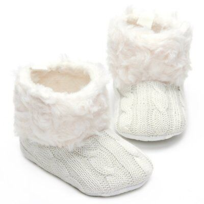 Annnowl Baby Girls Knit Soft Fur Warm Boots Crib Shoes (0-6, 6-12 (Baby Fur Boots)