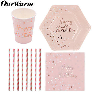Disposable Party Tableware Set Pink Paper Plate Napkin Straws Cup Birthday Favor (Pink Party Cups)