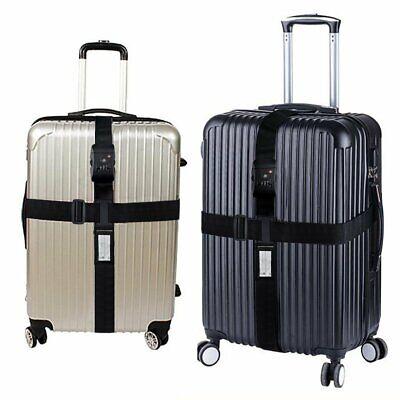 Kofferband TSA Kreuz-Koffergurt Zahlenschloss Gepäckgurt Kofferriemen Schwarz DE (Tsa Gepäckgurt)
