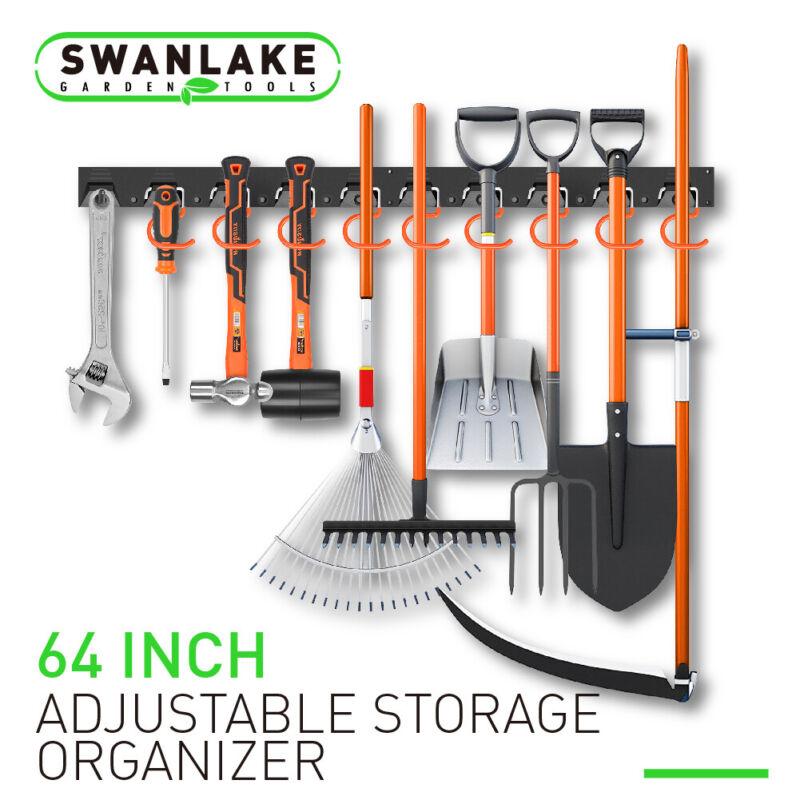 64 Inch Adjustable Storage System Wall Holders Garage Organizer 4 Rails 20 Hooks