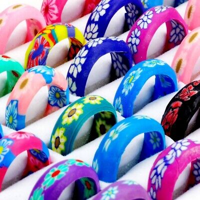 20x Mixed Color Flower Rings Cocktail Polymer Clay Children Kids Finger Ring -
