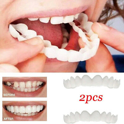 2Pcs/Set Upper & Lower Comfort Flex White Fake Teeth Cover Veneer Denture US