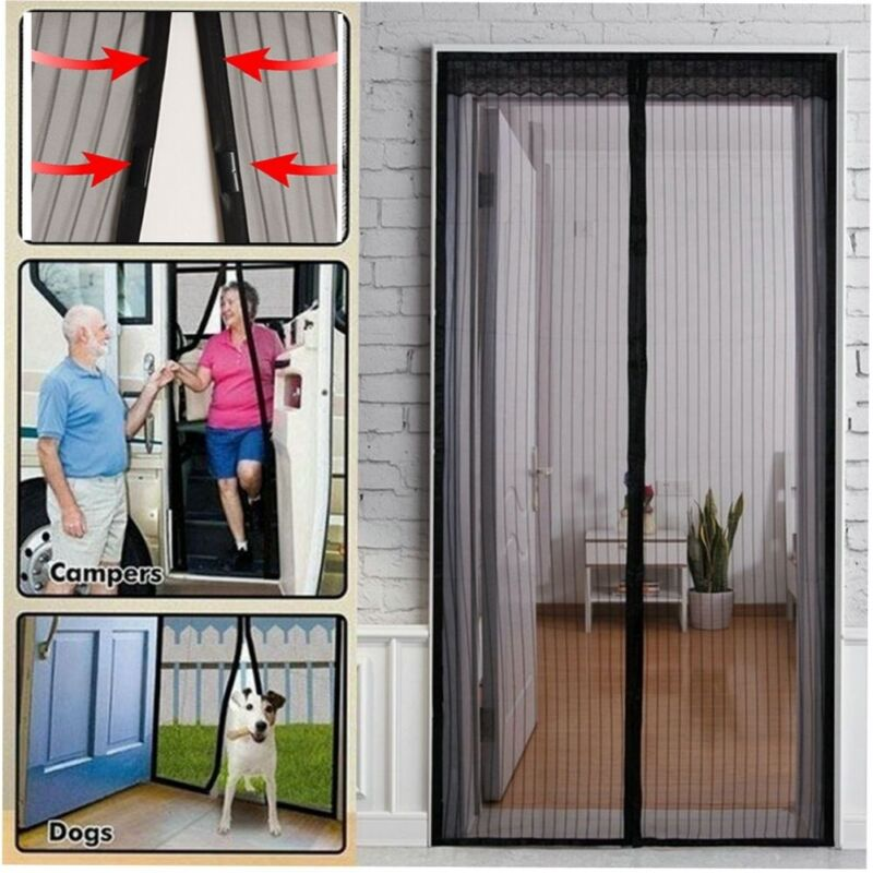Hands-Free Magnetic Screen Door Heavy Duty Mesh Net Mosquito Fly Insect Curtain