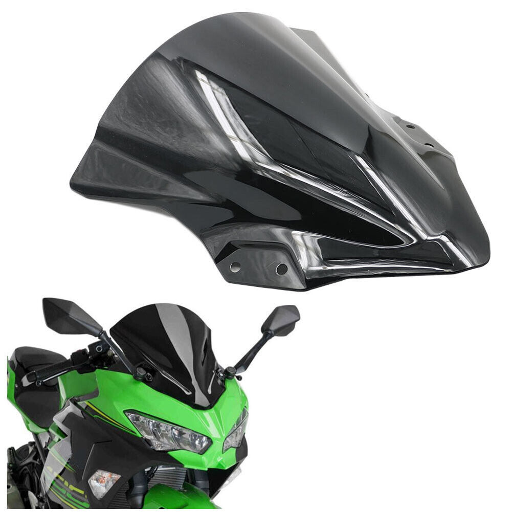 Motorcycle Windshields,Double Bubble ABS Windscreen,for Kawasaki Ninja 400 250 2018 2019 Black