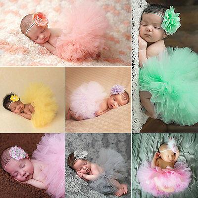 NEW Cute Newborn Baby Girl Tutu Skirt & Headband Photo Prop Costume Outfit UY
