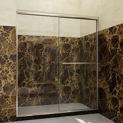 "Radiant SHOWER 54"" Semi-Frameless Sliding Shower Doors Clear Glass Brushed Nickel"