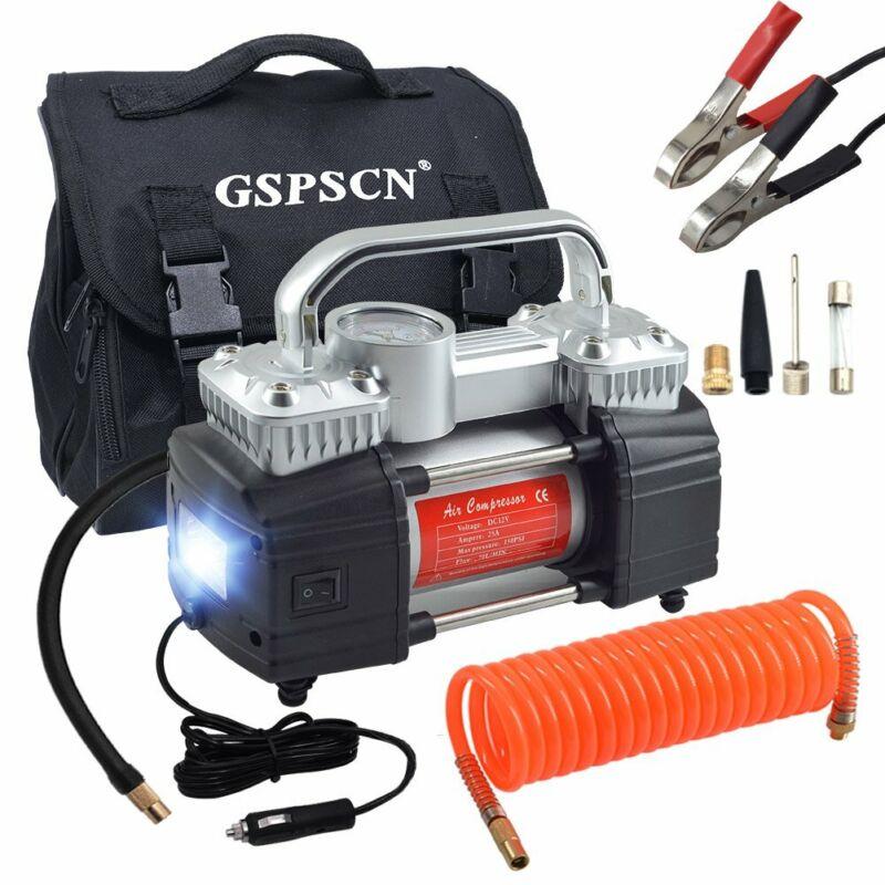Gspscn Silver Dual Cylinder Air Compressor, Heavy Duty Porta