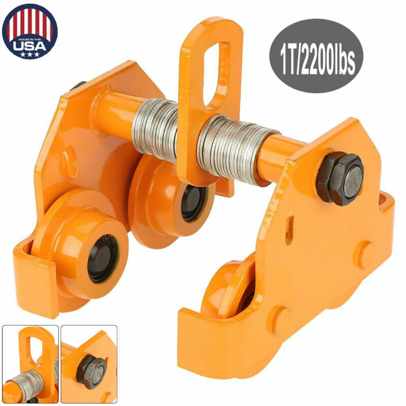 1 Ton Steel I-Beam Push Beam Track Roller Trolley For Overhead Garage Hoist Tool
