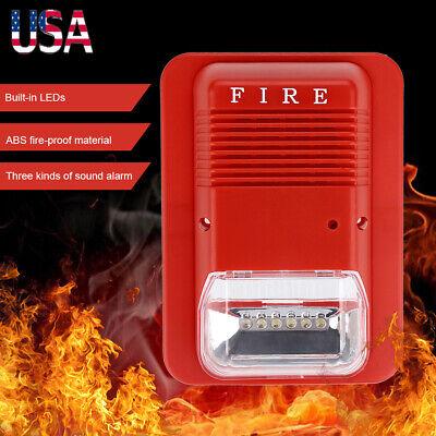 Sound Light Fire Alarm Warning Strobe Horn Alert Safety System Sensor For Home