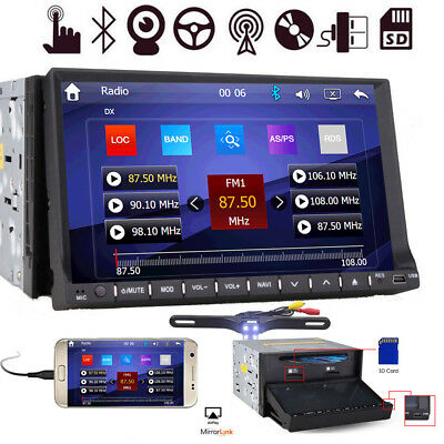 """7"""" HD Touch Screen Double 2 DIN Car Stereo DVD CD Player Bluetooth Radio GPS+MAP"""
