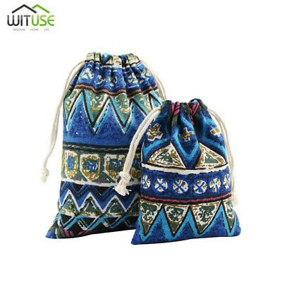 drawstring jewelry storage pouch cotton fabric printing