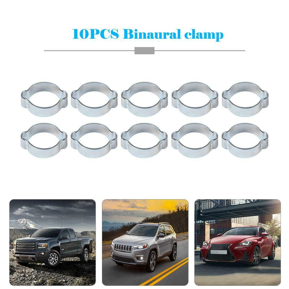 10pcs/set Double Ear Hose Clamps Fuel Pipe Water Hose Clamp