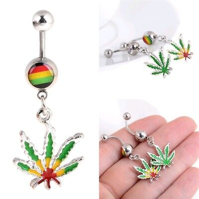 1 Pc Fashion Maple Leaf Belly Navel Ring Weed Button Body Piercing Jewelry Bar - Maple Leaf Button