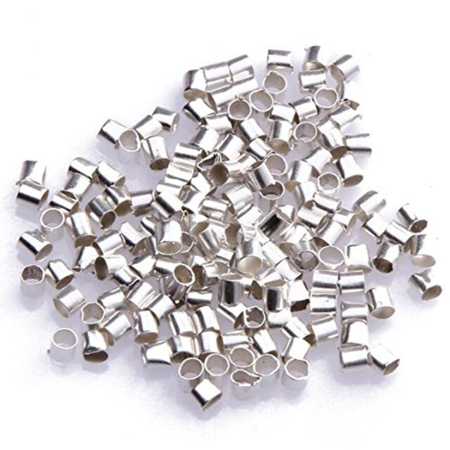 2mm Silver Plated Tube Crimp Beads About 500pcs